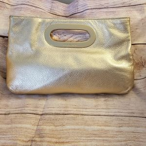 Michael Kors Berkley gold leather clutch B-0911